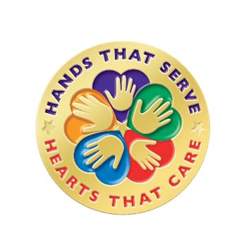 Hands That Serve Hearts That Care Lapel Pin with Presentation Card