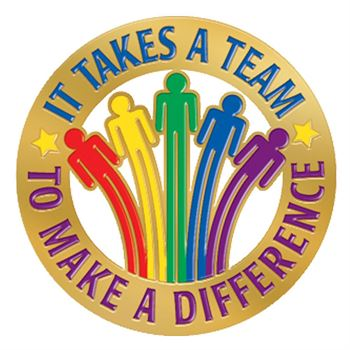 It Takes A Team To Make A Difference Lapel Pin With Presentation Card