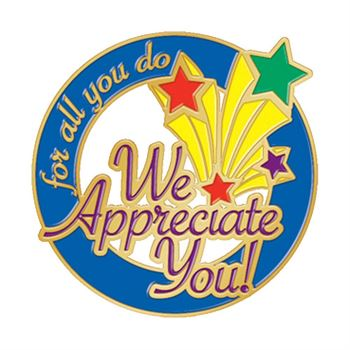 For All You Do We Appreciate You! Lapel Pin With Presentation Card