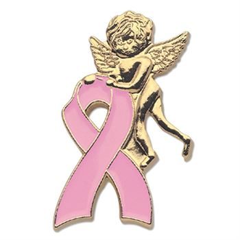 Pink Breast Cancer Awareness Ribbon With Angel Lapel Pin With Presentation Card