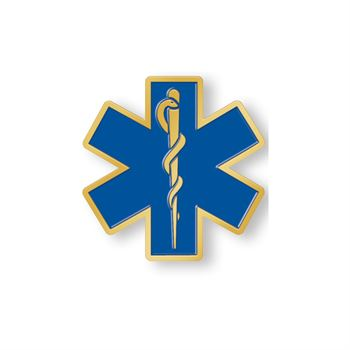 Star Of Life Lapel Pin with Thin White Line Card