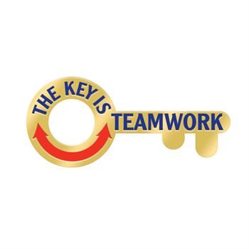 The Key Is Teamwork Lapel Pin With Presentation Card