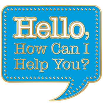 Hello, How Can I Help You? Lapel Pin With Presentation Card