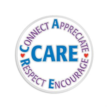 CARE: Connect Appreciate Respect Encourage Lapel Pin With Presentation Card