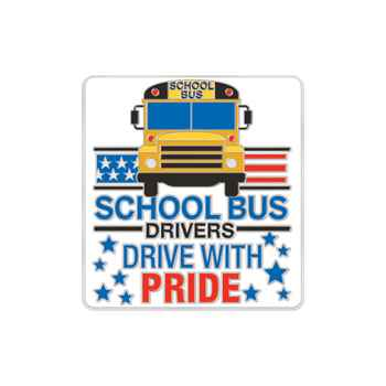 School Bus Drivers: Drive With Pride Lapel Pin With Presentation Card