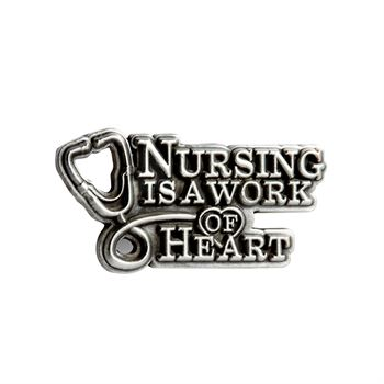 Nursing Is A Work Of Heart Pewter Lapel Pin With Presentation Card