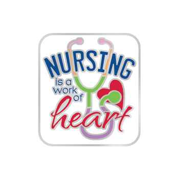 Nursing Is A Work Of Heart Lapel Pin With Presentation Card