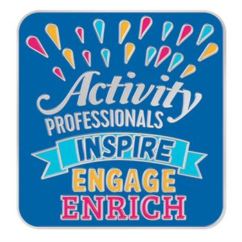 Activity Professionals: Inspire, Engage, Enrich Lapel Pin With Presentation Card