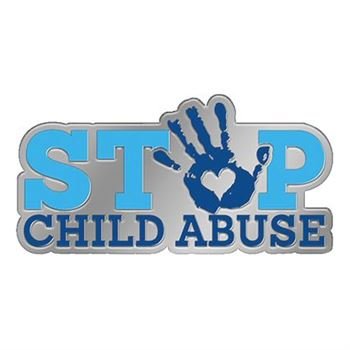 Stop Child Abuse Lapel Pin With Presentation Card