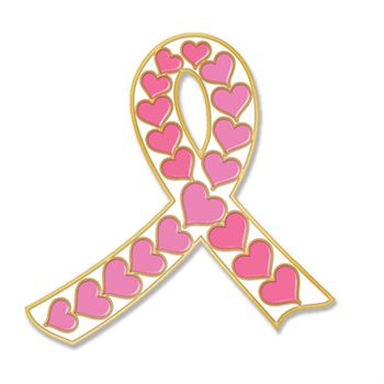 White Ribbon With Pink Hearts Breast Cancer Awareness Lapel Pin with Presentation Card