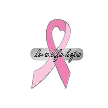 Love Life Hope Breast Cancer Awareness Lapel Pin With Presentation Card