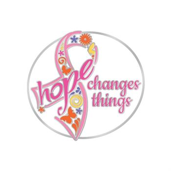 Hope Changes Things Breast Cancer Awareness Lapel Pin with Presentation Card