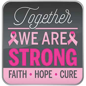 Together We Are Strong: Faith, Hope, Cure Breast Cancer Awareness Lapel Pin  with Presentation Card