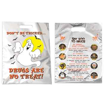 Don't Be Tricked, Drugs Are No Treat Reflective Mylar Trick-or-Treat Bags - Pack of 25