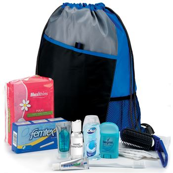 Female 11-Piece Hygiene Kit with Sport Drawstring Backpack