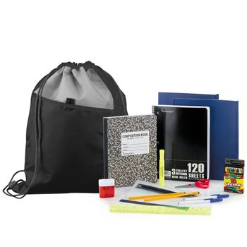 Budget Elementary School Kit With Drawstring Backpack