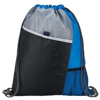 Blue Sport Drawstring Mesh Backpack