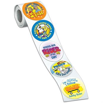 School Bus Safety Assorted Praise Themes Stickers-On-A-Roll