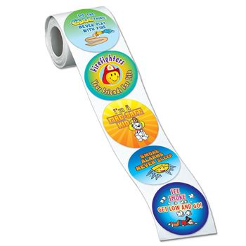 Fire Safety 5-On-A-Roll Message Stickers