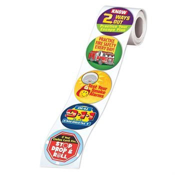 Fire Safety Themes 5-On-A-Roll Message Stickers
