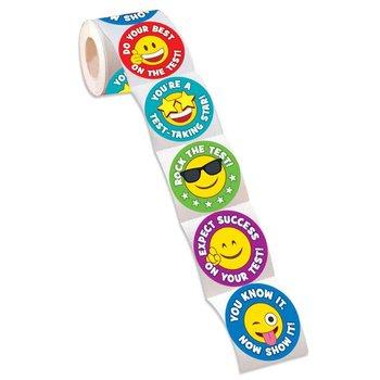 Test-Taking Emoji Assortment Stickers - Roll of 100