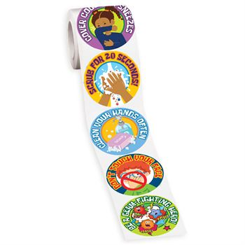 Germ Fighting Tips Assorted Stickers-On-A-Roll - Pack of 200
