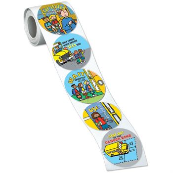 School Bus Safety Assortment Stickers-On-A-Roll - 200 Per Roll