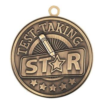 Test-Taking Star Gold Academic Medallion