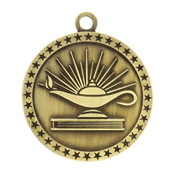 Lamp Of Knowledge Gold Academic Medallion