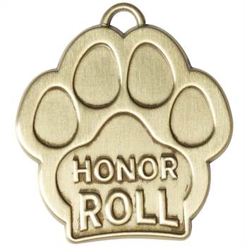 Honor Roll Paw-Shaped Gold Academic Medallion