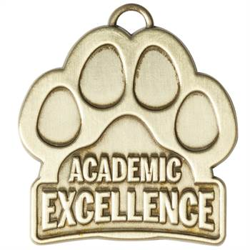 Academic Excellence Paw-Shaped Gold Academic Medallion