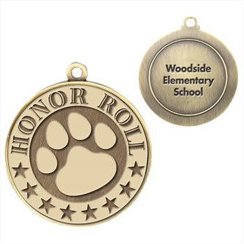 Honor Roll/Paw Gold Academic Medallion - Personalization Available