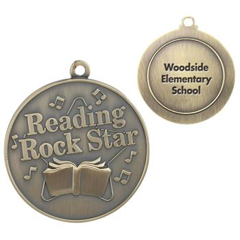 Reading Rock Star Gold Academic Medallion - Personalization Available