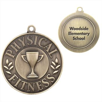 Physical Fitness Gold Academic Medallion - Personalization Available
