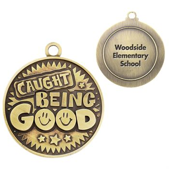 Caught Being Good Gold Academic Medallion - Personalization Available