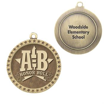 A-B Honor Roll Gold Academic Medallion - Personalization Available