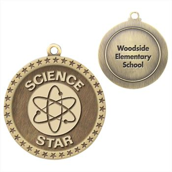 Science Star Gold Academic Medallion - Personalization Available