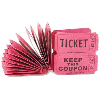 Red Paper Colored Raffle Tickets - Sold In Packs Of 100