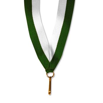 "White/Green 30"" Neck Medallion Ribbon"