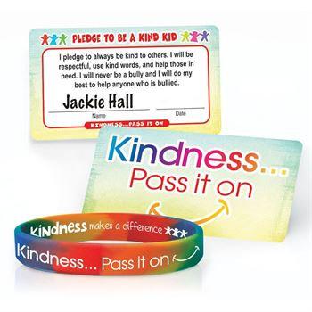 Kindness Pass It On 2-Sided Silicone Bracelet & Pledge Card