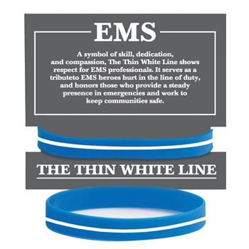 EMS: The Thin White Line Silicone Bracelet With Presentation Card
