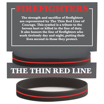 Firefighters: The Thin Red Line Silicone Bracelet With Presentation Card - 10 Per Pack