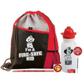I'm A Fire-Safe Kid Deluxe Drawstring Backpack With Water Bottle Value Kit