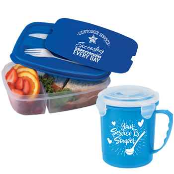 Customer Service 2-Section Food Container with Utensils & 24-oz. Soup Mug Gift Set Combo