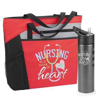 Nursing Is A Work Of Heart Mercer Tote & Essex Water Bottle Gift Combo