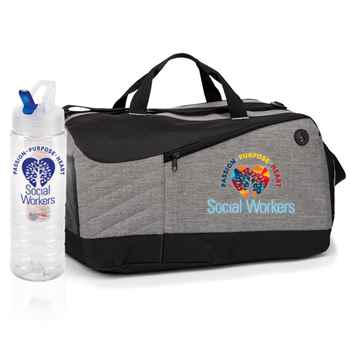 Social Workers: Passion, Purpose, Heart Essential Water Bottle & Duffel Bag Gift Set