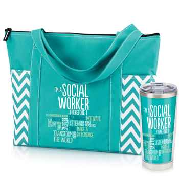 I'm A Social Worker Therefore I ... Chevron Tote & Insulated Tumbler Combo