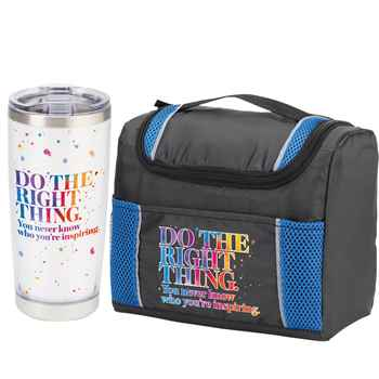 Do The Right Thing. You Never Know Who You're Inspiring Bayville Lunch Cooler Bag & Insulated Tumbler Combo