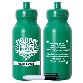 Field Day: A Good Sport Is Always A Winner Green Water Bottle 20-Oz. With Permanent Marker