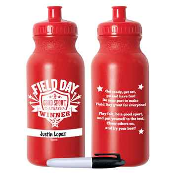 Field Day: A Good Sport Is Always A Winner Red Water Bottle 20-Oz. With Permanent Marker - Pack of 10